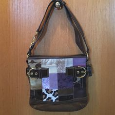 Coach patchwork purse EUC Coach patchwork purse. I only used this bag for one winter season. It has been carefully stored in its duster bag since. I even found the original receipt which is shown in one of the pics. No visible wear inside or out. Smoke and pet free home. Cannot be used in bundle discount. Coach Bags Shoulder Bags
