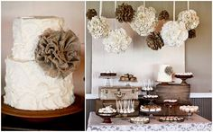 burlap, table display,  love to see a tutorial on these burlap flowers!!!