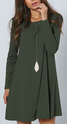 Green Plain Long Sleeve Casual Mini Dress