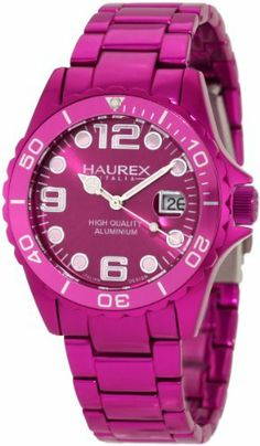 Haurex Italy Women's 7K374DP3 Ink Purple Aluminum Watch Haurex. $179.29. Purple stainless steel bracelet, case and bezel. Water-resistant to 99 feet (30 M). Purple dial. Second hand feature, minute track; Luminous hands. Date at 3 o'clock