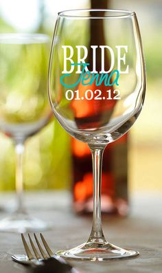 Custom Bridal party, Bride, Bridesmaid, etc. personalized wine glass with names and wedding date - set of 8