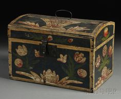 Paint-decorated Dome-top Box, possibly Pennsylvania, early 19th century, wire hinges and handle on rectangular box with iron latch, the top painted with a basket of flowers, the front and sides with tulips and other flowers in red, green, and white on a dark blue ground with white borders, (paint wear), ht. 9 3/8, wd. 13 3/4, dp. 8 5/8 in.
