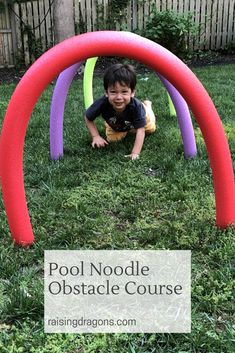 Educational Outdoor Fun for Kids-Pool Noodle Obstacle Course ages We created this super cool obstacle course. Noodles Games, Pool Noodle Games, Pool Noodles, Pool Noodle Crafts, Toddler Obstacle Course, Backyard Obstacle Course, Backyard Games, Outdoor Games, Obstacle Course Party