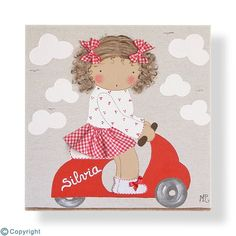 Cuadro infantil personalizado: Niña en Vespa (ref. 12020-05) Clear Vases, Have Fun, Diy And Crafts, Projects To Try, Patches, Cross Stitch, Gift Wrapping, Kids Rugs, Quilts