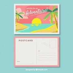 Travel postcard with beach view in flat style Free Vector Printable Postcards, Free Postcards, Spot Illustration, Poster Ramadhan, Envelope Template Printable, Postcard Layout, Posca Art, Cross Stitch Bookmarks, Photoshop Design