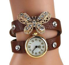 f8f9cd8d94dee Brown bracelet watch butterfly - Montre bracelet marron papillon #watch # mode