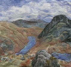 Wet felted landscape picture ~ View down the Ogwen Valley to Tryfan from Pinnacle Crag, Snowdonia, North Wales painting with wool Pictures On String, Felt Pictures, Nuno Felting, Needle Felting, Landscape Pictures, Felt Art, Art Google, Textile Art, Artsy Fartsy