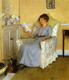 The Leisure Hour, The Artist's wife, Gertrude, Reading, 1917 by Harold Harvey  (1874–1941)