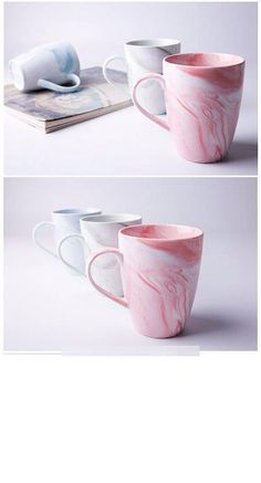 350ml Stylish Marbled Ceramic Mug Milk Coffee Tea Water Cup Home Office Drinkware Pink Blue Green Grey Unique Gifts