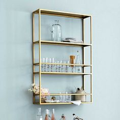 Get organized with wall shelves and more from Ballard Designs! Find floating wall shelves for decor and organization today! Glass Shelves Kitchen, Bar Shelves, Bathroom Shelves, Display Shelves, Shelves Lighting, Gold Shelves, Kitchen Cabinets, Display Cabinets, Wall Mounted Shelves