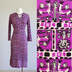 70s deer print dress - vintage 1970s novelty print dress - long maxi dress - stretchy polyester - lace up collar - boho hippie - large m xl