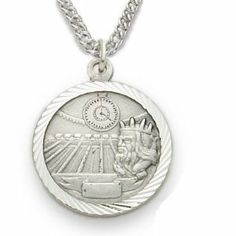 """Sterling Silver 3/4"""" Round Swimming Medal with St. Christopher on the Back on 20"""" Chain TrueFaithJewelry. $49.95"""