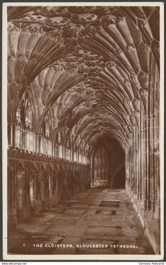 """The Cloisters, Gloucester Cathedral, Gloucestershire, - RP Postcard """" Gloucester Cathedral, Postcards For Sale, The Cloisters, 1920s, United Kingdom, Medieval, Castle, England, Clay"""