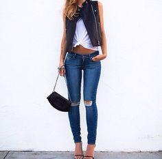 Distressed denim. Crop top. Leather moto vest. Single-sole sandals. Everything!