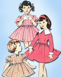 1950s Vintage Butterick Sewing Pattern 9124 Toddler Girls Dress Size 6 24B #Butterick #DressPattern
