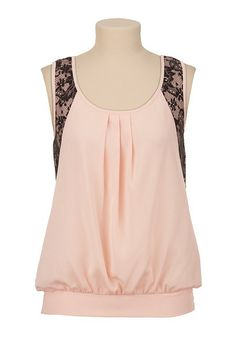 ♥♥♥♥♥Banded Bottom Contrast Lace Back Tank available at #Maurices
