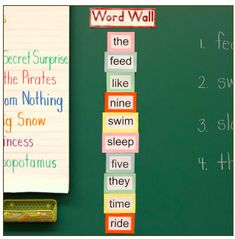 INSTRUCTION Word walls are a fun way to encourage the correct spelling and use of high frequency words. Having a word wall that is easily accessible to all students, is very encouraging for students to want to use and spell these words correctly. It becomes easy to use these words in daily activities and games. This teacher has placed coloured paper behind each word, to differentiate each word and increase focus on each word.