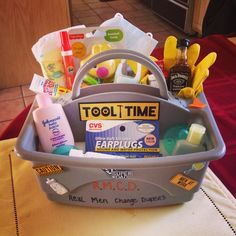 "Mens Baby Shower ~ RMCD - Real Men Change Diapers A ""Daddy Toolbox"" to give to…"