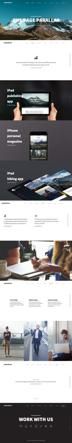 'Peaks' is a One Page HTML template featuring a full screen layout with a dot navigation to explore. The hover sensitive effect is enjoyed by many but personally a bit overdone in this template. Quite like what they have done with the team section further down and also the minimal approach to news with a simple slider that links out. Other features include big image sliders, CSS3 load transitions on each section and a responsive design - with an off-canvas navigation menu for mobile. The…