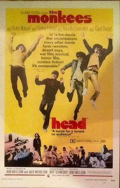 Monkees Memorabilia, Movie Poster: HEAD Poster 1968, 11x17 ...