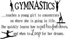 "Gymnastics teaches a...leap for dreams- vinyl wall decal 34""x20"" (black)"