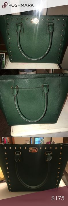 Michael Kors Hunter Green Studded Purse Brand New - Excellent condition studded Michael Kors handbag - used maybe 3 times and is in perfect condition Michael Kors Bags Satchels