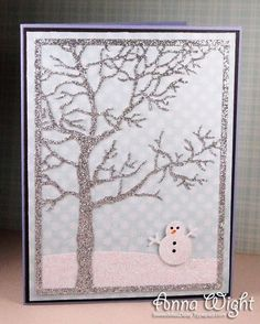 Tree Frame die and snowman from the Christmas Icons die set - Impression Obsession - AnnaWight0418