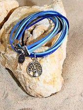 Bynookz Bracelet Blue Tree of Life zilver