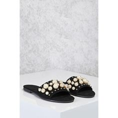 Forever21 Faux Pearl Slide Sandals (€25) ❤ liked on Polyvore featuring shoes, sandals, black, open toe flats, strappy sandals, black studded sandals, black studded flats and black strappy flats