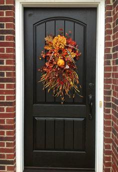 Fall Wreath Autumn Wreath Teardrop Vertical Door Swag Decor