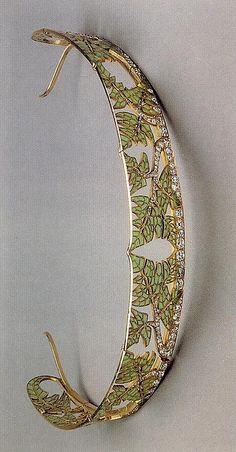 Diamond, plique-à-jour enamel and gold tiara, circa 1890.