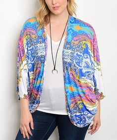 Royal Blue & Pink Abstract Dolman Cardigan - Plus