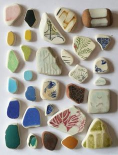 I have some beautiful pieces of pottery found in the ocean. I also have a great bracelet made from found pottery shards. These ones are lovely.