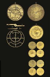 An exceptionally rare early 15th-Century French brass Medieval Astrolabe,