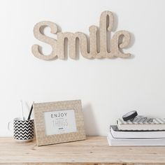 Palabra decorativa Smile de madera Al. 40cm BLACKSTAGE | Maisons du Monde