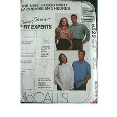MISSES, MENS OR TEEN BOYS SHIRTS SIZE MEDIUM (34,36) MCCALLS 3 HOUR SHIRT #6529$12.95