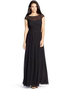 Lauren Ralph Lauren Ruched Illusion Gown | macys.com