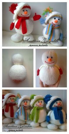 Knitted Snowmen Free Pattern