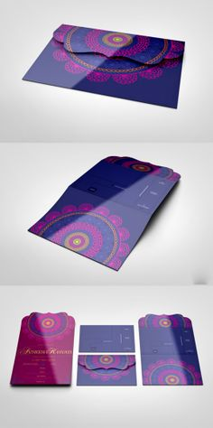 We like the colors and the detailed envelope, as well as the mandala. Indian Wedding Invitations, Creative Wedding Invitations, Wedding Invitation Inspiration, Wedding Stationary, Wedding Invitation Cards, Custom Invitations, Invitation Design, Wedding Cards, Invitation Wording