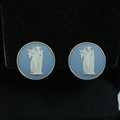 Vintage Wedgwood Earrings Sterling Silver Blue Jasper Cameo Earrings Wedgewood…