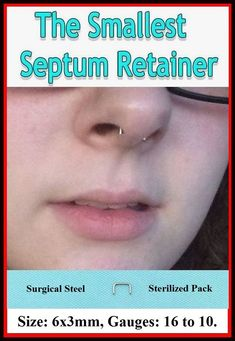 "Sterilized Stainless Steel 16g 5//16/"" Septum Curve Bar Retainer."