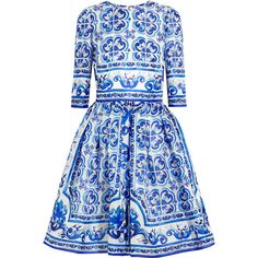 Dolce & Gabbana Printed silk mini dress, Blue, Women's, Size: 38 (40.458.290 IDR) ❤ liked on Polyvore featuring dresses, vestidos, dolce & gabbana, short dress, blue, short fitted dresses, silk dress, short summer dresses, blue skater skirt and blue dress