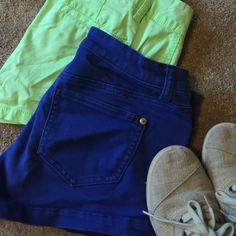 Shorts Bundle Dark blue and neon green shorts bundle. Blue ones show some wear, green ones I probably wore only once. Blue brand is celebrity pink and neon ones are Arizona jeans.  Super cute with a pair of toms and a slouchy tee  Celebrity Pink Shorts