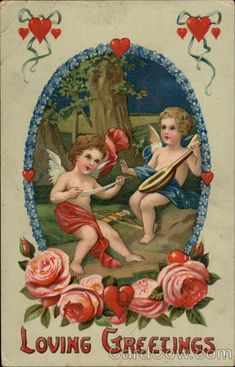 Loving Greetings - Cherubs and Hearts Cupid