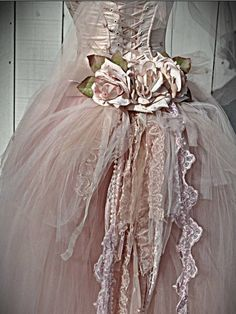 rosy pink tulle gown flowers lace up Vintage Outfits, Vintage Fashion, Gothic Fashion, Beautiful Gowns, Beautiful Outfits, Steampunk Wedding, Gothic Steampunk, Steampunk Clothing, Victorian Gothic
