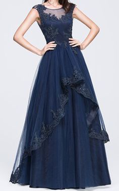 Dark Navy A Line Princess Scoop Neck Floor Length Tulle Prom Dress Beading Appliques Lace Sequins Harry Dress HD70352