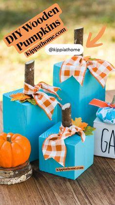 Thanksgiving Centerpieces, Thanksgiving Crafts, Holiday Crafts, Holiday Fun, Fall Wood Crafts, Autumn Crafts, Pumpkin Crafts, Diy Halloween Decorations, Halloween Crafts