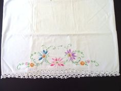 Vintage Embroidered Flowers on Cotton Pillowcases with Hand Crocheted Lace Edging, Cutter Linen Crochet Lace Edging, Hand Crochet, Crocheted Lace, Embroidery Patterns, Cross Stitch Patterns, Watercolor Border, Blue And Purple Flowers, Floral Border, Embroidered Flowers