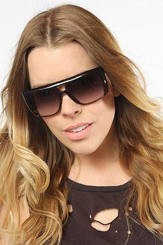 'Hugo' Oversized Flat Top Sunglasses - Black/Clear - 5088-2
