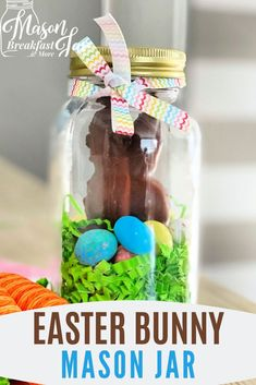 Want fun and cute Mason jar gifts for Easter? Mason jar gift ideas don't get much cuter or easier than this Easter Bunny Jar! Kids, grandkids, friends, and family will all love receiving this yummy chocolate bunny in a jar. Homemade Gifts For Boyfriend, Easy Homemade Gifts, Diy Gifts For Him, Diy Gifts For Friends, Gifts For Kids, Jar Crafts, Easter Crafts, Easter Ideas, Mason Jar Gifts